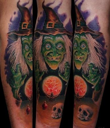 Green Ink Witch Tattoo Design