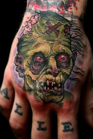 Green Zombie Tattoo Design