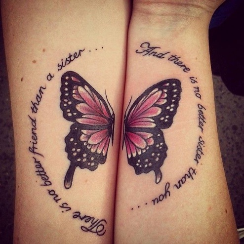 Half Butterfly Sibling Tattoos