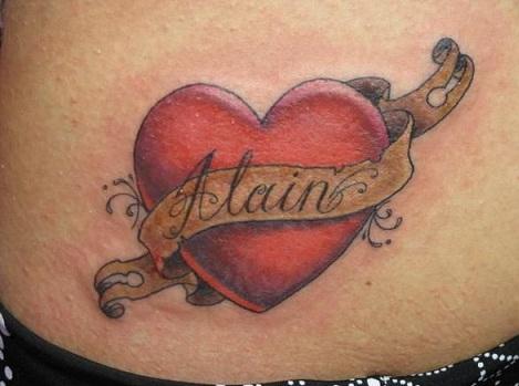 Heart banner tattoo