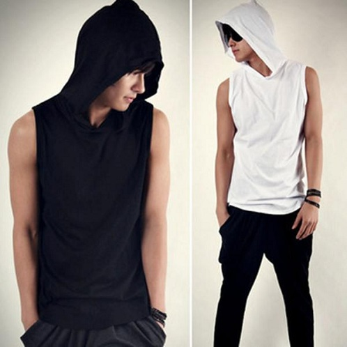 Hooded Style Sleeveless T-Shirt