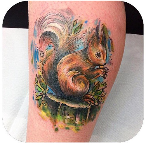 Illustrative Squirrel Tattoo
