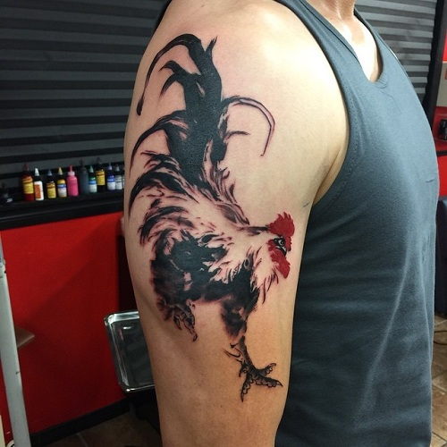 Impressive Rooster Tattoo Design