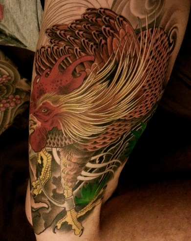 Incredible Rooster Tattoo Design