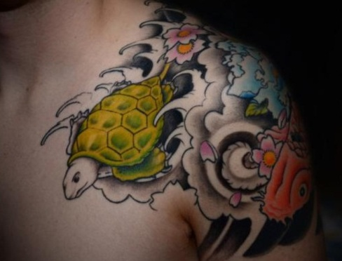 9 glorious turtle tattoos that are best in tattoo designs styles at life. Black Bedroom Furniture Sets. Home Design Ideas
