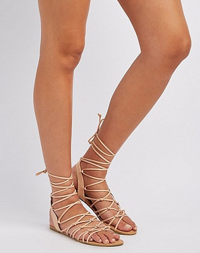 KNOTTED LACE UP SANDALS
