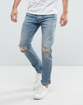 Knee Ripped Men Denim Jean