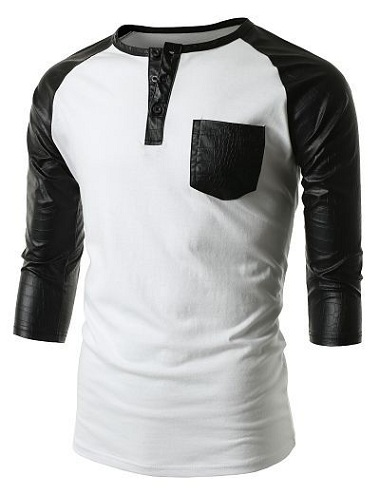 Leather Sleeve Men's T Shirts