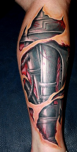 Lively Robot Tattoo Design