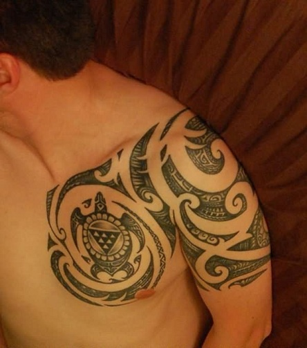 Maori Half Sleeve Turtle Tattoo