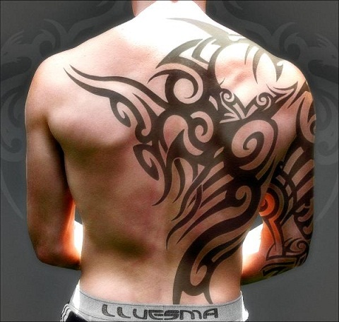 Masculine Tribal Back Tattoo