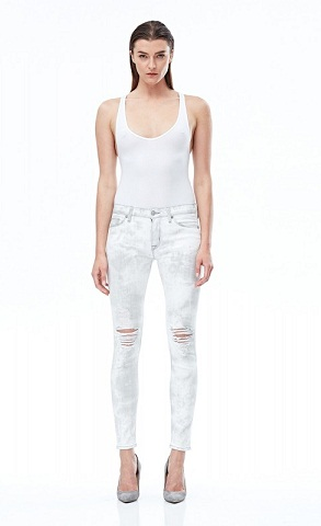 Mid Waist Skinny White Denim Women Jeans