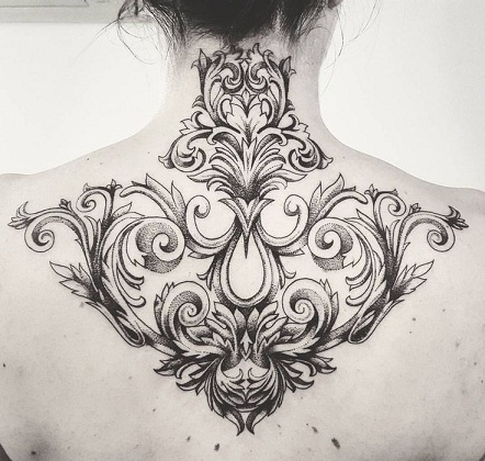 On Neck baroque Tattoo
