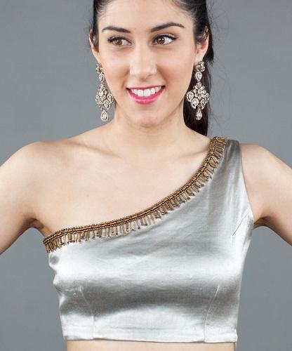 One Shoulder Neck Blouse Design for Saree