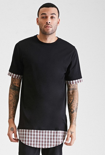 Pleaded Longline T-Shirt for Men
