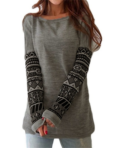 Printed Full Sleeve Women's T Shirt