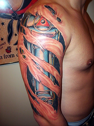 Ripped Skin Robot Tattoo Design