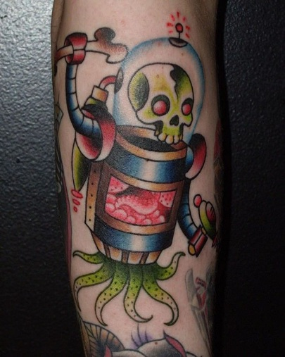Scary Robot Tattoo Design