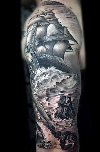 Ship Tattoo for Sleeve