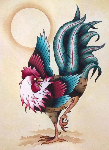 Spectacular Rooster Tattoo Design