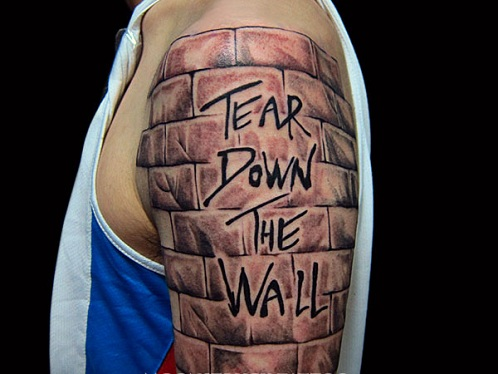 Stone Wall Work Tattoo Design