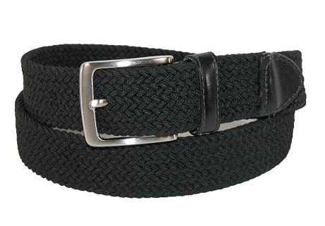 Mens Stretch Belt with Leather Tabs