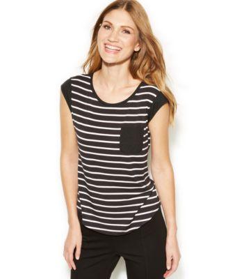 Striped Short Sleeve Pocket T-Shirt for Women