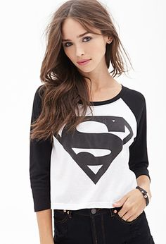 Superman Symbol Printed Baseball T-Shirt