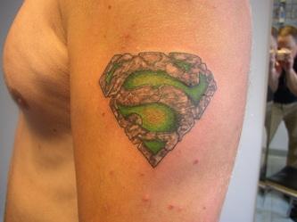 Superman Symbol Stone Work Tattoo Design