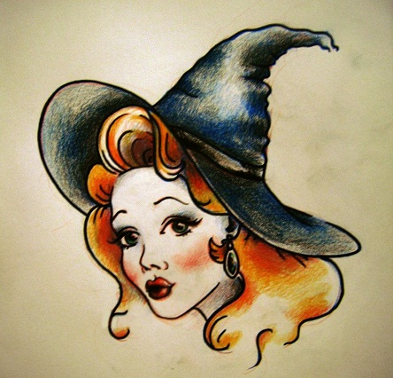 Traditional Witch Tattoo Design