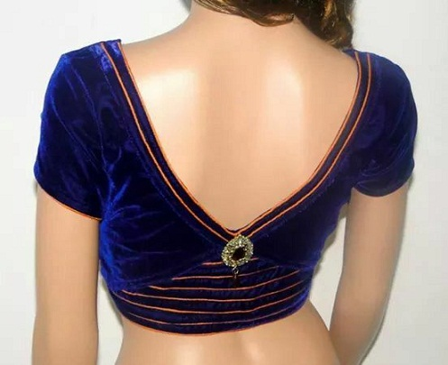 V Back Neck Blouse Design