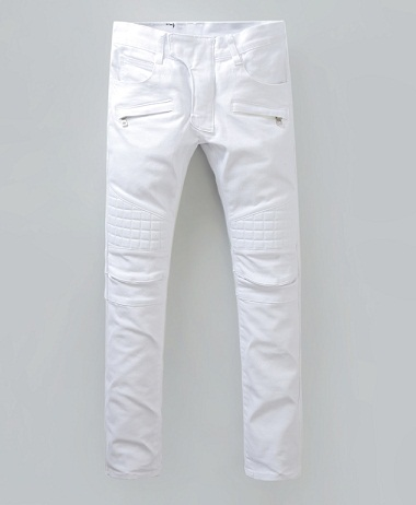 White Zipped Pockets Denim Men Jeans