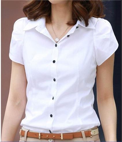 Women's Formal White Short T-Shirt