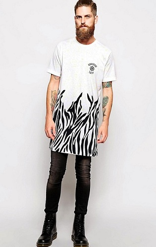 Zebra Stripped Longline T-shirt for Men