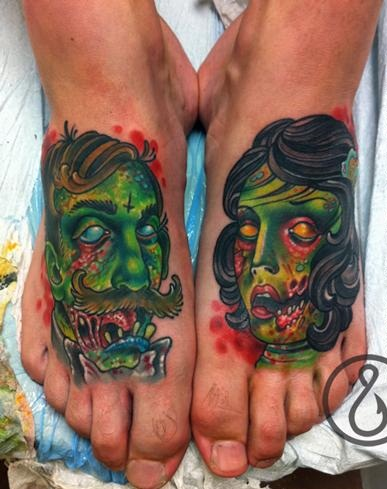 Zombie Couples Tattoo Design