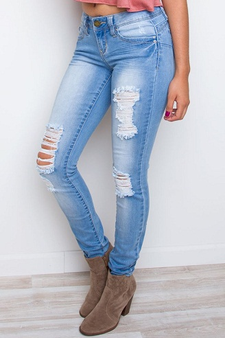 Distressed Pencil Jeans