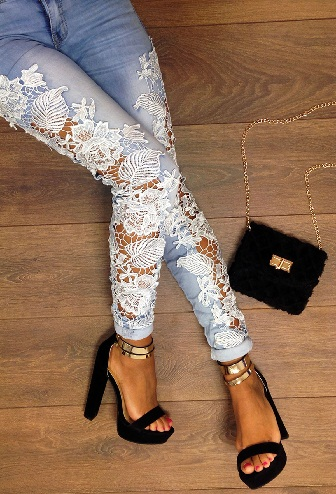 Jeans with Lace Work