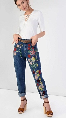Pencil Jeans with Embroidery Work