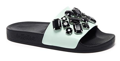 Womens Stone Studded Slide Sandal