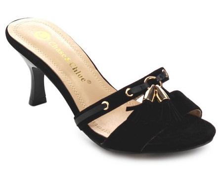 Velvet Slip-on Heel Sandals for Women