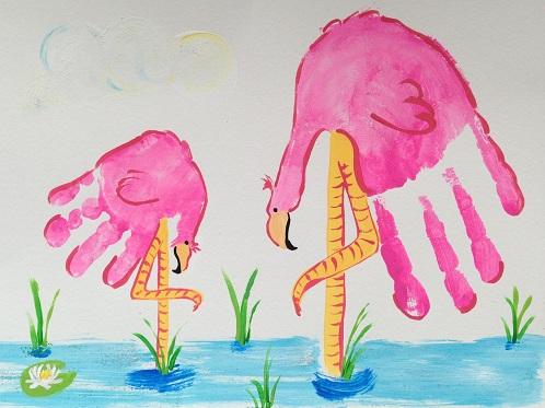 Hand Print Flamingo