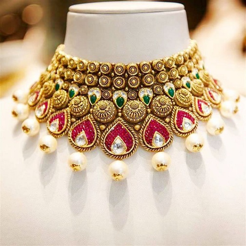 Jaipuri Neckline Necklace Design