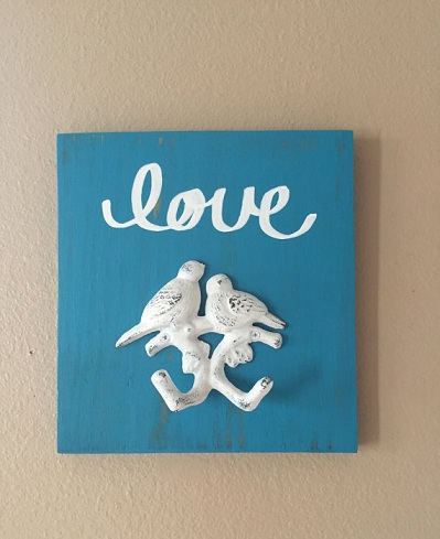 Key Hook Love Bird Wooden Craft