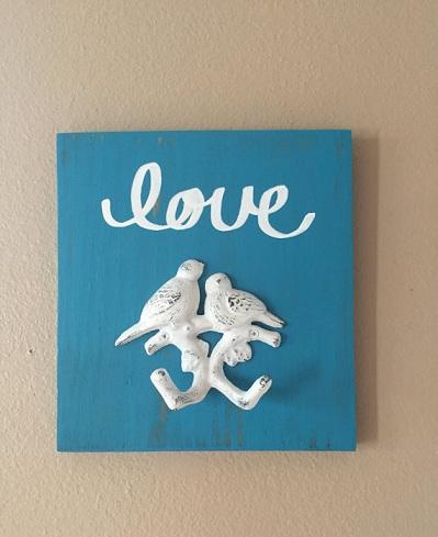 Key Hook Love Bird Wooden Craft