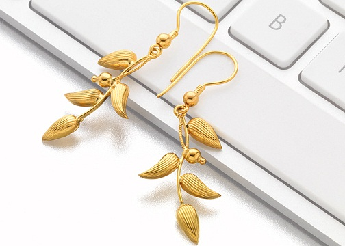 Leaf Pattern 4 gm Earrings