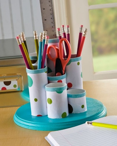 Pencil Holder From Toilet Paper Rolls