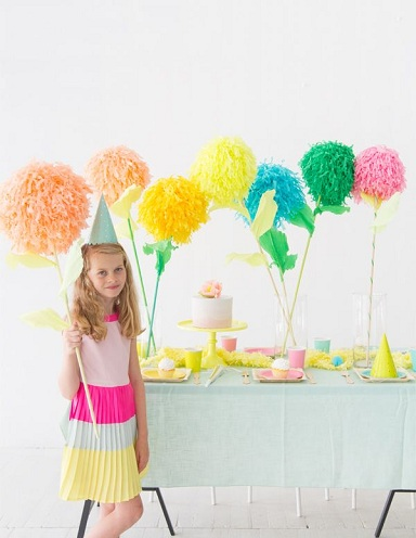 Poms Flower Paper Stick Crafts