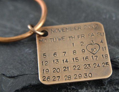 Solid Bronze Key Ring This 8th Wedding Anniversary