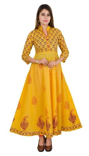 Anarkali Style Yellow Fashion Kurti