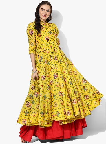 Anarkali Kurti With Flared Skirt